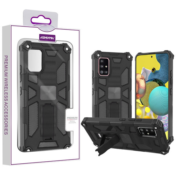 Asmyna Sturdy Hybrid Protector Cover (with Stand) for Samsung Galaxy A51 5G - Black / Black