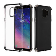 Asmyna Klarion Candy Skin Cover for Samsung Galaxy A6 (2018) - Electroplating Black / Transparent Clear