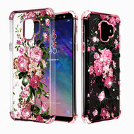 Asmyna Diamante Klarion Candy Skin Cover for Samsung Galaxy A6 (2018) - Electroplating Rose Gold / Pink Peony