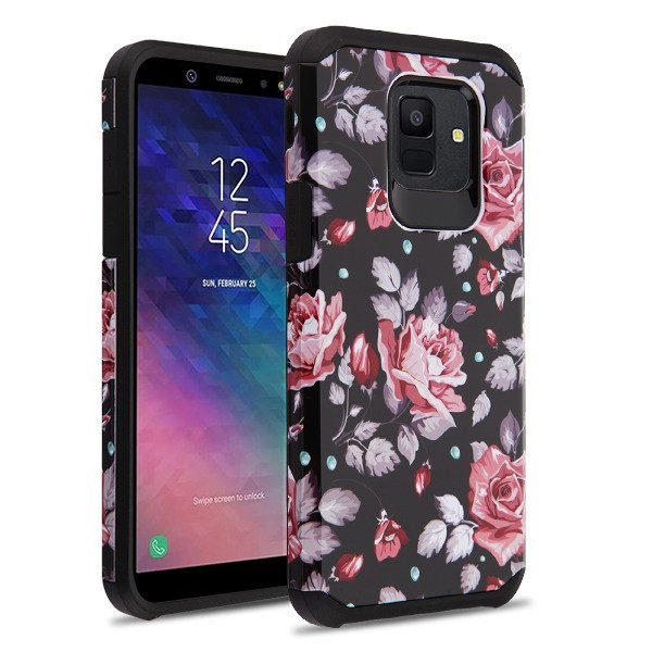Asmyna Astronoot Protector Cover for Samsung Galaxy A6 (2018) - Pinky White Rose / Black