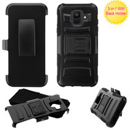 Asmyna Advanced Armor Stand Protector Cover Combo (with Black Holster) for Samsung Galaxy A6 (2018) - Black / Black