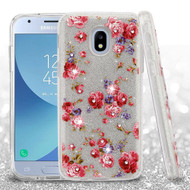 Asmyna Full Glitter Hybrid Protector Cover for Samsung J337 (Galaxy J3 (2018)) - Vintage Rose Bush