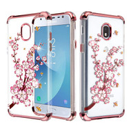 Asmyna Diamante Klarion Candy Skin Cover for Samsung J337 (Galaxy J3 (2018)) - Electroplating Rose Gold / Spring Flowers