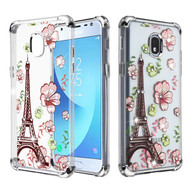 Asmyna Diamante Klarion Candy Skin Cover for Samsung J337 (Galaxy J3 (2018)) - Electroplating Silver / Eiffel Tower in the Season of Blooming