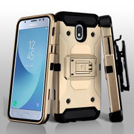 Asmyna Kinetic Hybrid Protector Cover Combo (with Black Holster) for Samsung J337 (Galaxy J3 (2018)) - Gold / Black