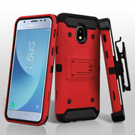 Asmyna Kinetic Hybrid Protector Cover Combo (with Black Holster) for Samsung J337 (Galaxy J3 (2018)) - Red / Black