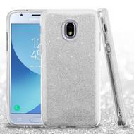 Asmyna Full Glitter Hybrid Protector Cover for Samsung J337 (Galaxy J3 (2018)) - Silver