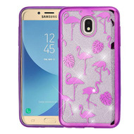 Asmyna Full Glitter Hybrid Protector Cover for Samsung J737P (Galaxy J7 (2018)) - Electroplating Purple Flamingo Land (Transparent Clear)