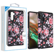 Asmyna Astronoot Protector Cover for Samsung Galaxy Note 10 (6.3) - Pinky White Rose / Black