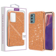 Asmyna Encrusted Rhinestones Hybrid Case for Samsung Galaxy Note 20 - Electroplated Rose Gold / Rose Gold