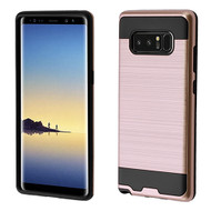 Asmyna Brushed Hybrid Protector Cover for Samsung Galaxy Note 8 - Rose Gold / Black