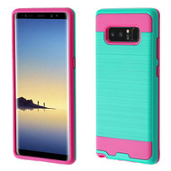 Asmyna Brushed Hybrid Protector Cover for Samsung Galaxy Note 8 - Teal Green / Hot Pink