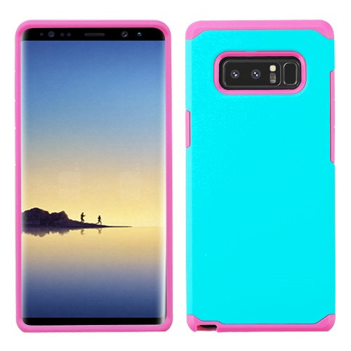 Asmyna Astronoot Protector Cover for Samsung Galaxy Note 8 - Teal Green / Hot Pink