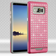 Asmyna Diamante FullStar Protector Cover for Samsung Galaxy Note 8 - Hot Pink / Iron Gray