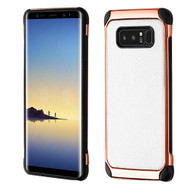 Asmyna Astronoot Protector Cover for Samsung Galaxy Note 8 - White Lychee Grain(Rose Gold Plating) / Black