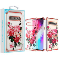 Asmyna Diamante Klarion Candy Skin Cover for Samsung Galaxy S10 5G - Electroplating Rose Gold / Pink Peony