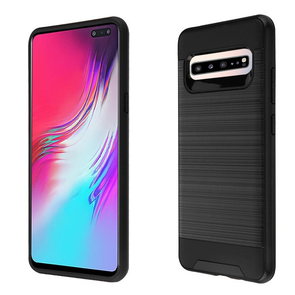 Asmyna Brushed Hybrid Protector Cover for Samsung Galaxy S10 5G - Black / Black