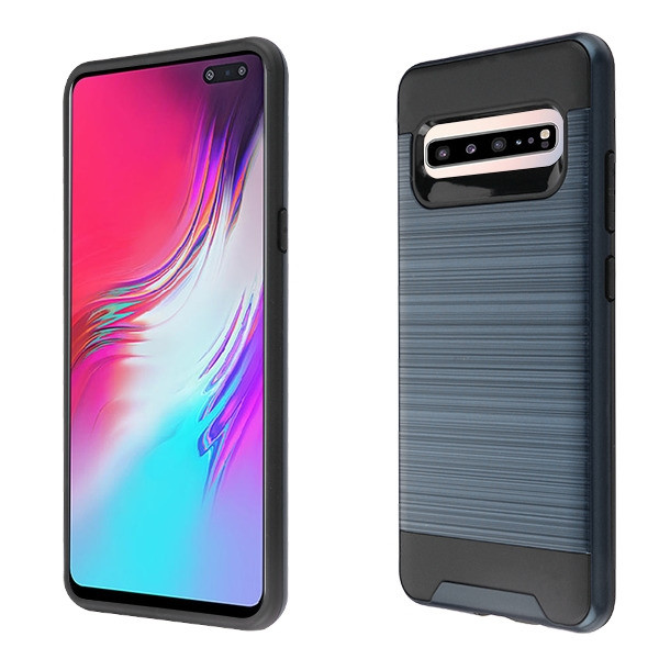 Asmyna Brushed Hybrid Protector Cover for Samsung Galaxy S10 5G - Ink Blue / Black