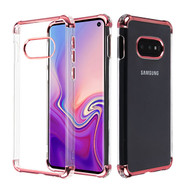 Asmyna Klarion Candy Skin Cover for Samsung Galaxy S10E - Electroplating Rose Gold / Transparent Clear