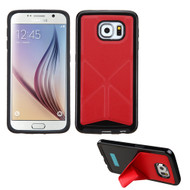 Asmyna Candy Frame Protector Cover (with Folding Magnetic Stand) for Samsung G920 (Galaxy S6) - Red Backside(Black) / Black