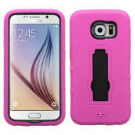 Asmyna Symbiosis Stand Protector Cover for Samsung G920 (Galaxy S6) - Black / Hot Pink