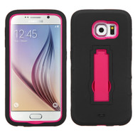 Asmyna Symbiosis Stand Protector Cover for Samsung G920 (Galaxy S6) - Hot Pink / Black