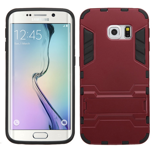 Asmyna Iron-bear Hybrid Protector Cover with Stand for Samsung G925 (Galaxy S6 Edge) - Burgundy / Black