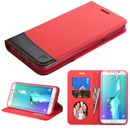Asmyna MyJacket wallet (with card slot) for Samsung Galaxy S6 edge Plus - Red / Black