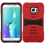 Asmyna Wave Symbiosis Protector Cover (with Horizontal Stand) for Samsung Galaxy S6 edge Plus - Black / Red
