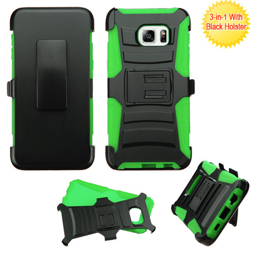 Asmyna Advanced Armor Stand Protector Cover Combo (with Black Holster) for Samsung Galaxy S6 edge Plus - Black / Green
