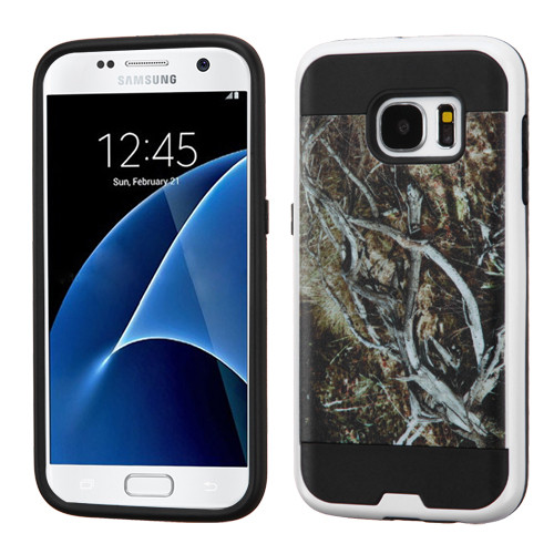 Asmyna Brushed Hybrid Protector Cover for Samsung G930 (Galaxy S7) - Yellow / Black Vine / Black
