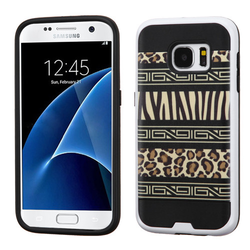 Asmyna Brushed Hybrid Protector Cover for Samsung G930 (Galaxy S7) - Zebra Skin-Leopard Skin / Black