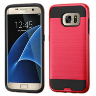 Asmyna Brushed Hybrid Protector Cover for Samsung G935 (Galaxy S7 Edge) - Red / Black