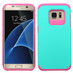 Asmyna Astronoot Protector Cover for Samsung G935 (Galaxy S7 Edge) - Teal Green / Hot Pink