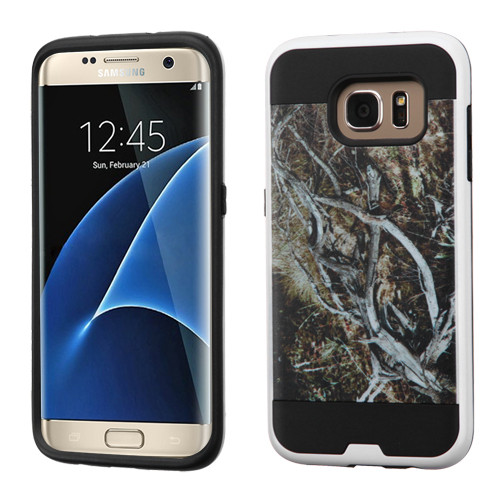 Asmyna Brushed Hybrid Protector Cover for Samsung G935 (Galaxy S7 Edge) - Yellow / Black Vine / Black