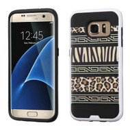 Asmyna Brushed Hybrid Protector Cover for Samsung G935 (Galaxy S7 Edge) - Zebra Skin-Leopard Skin / Black