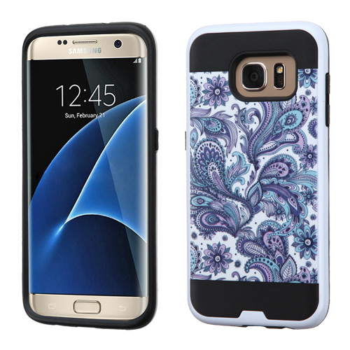 Asmyna Brushed Hybrid Protector Cover for Samsung G935 (Galaxy S7 Edge) - Purple European Flowers / Black