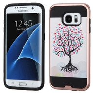 Asmyna Brushed Hybrid Protector Cover for Samsung G935 (Galaxy S7 Edge) - Love Tree(Rose Gold) / Black