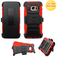 Asmyna Advanced Armor Stand Protector Cover Combo (with Black Holster) for Samsung G935 (Galaxy S7 Edge) - Black / Red