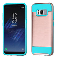 Asmyna Brushed Hybrid Protector Cover for Samsung Galaxy S8 - Rose Gold / Tropical Teal