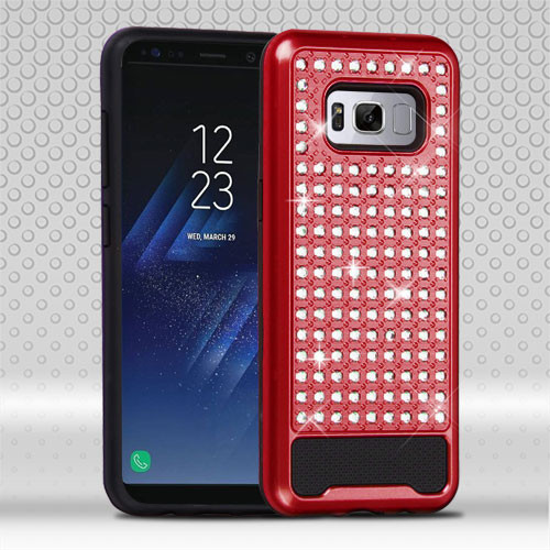 Asmyna Diamante FullStar Protector Cover for Samsung Galaxy S8 - Red / Black