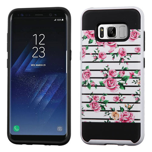 Asmyna Brushed Hybrid Protector Cover for Samsung Galaxy S8 - Pink Fresh Roses / Black