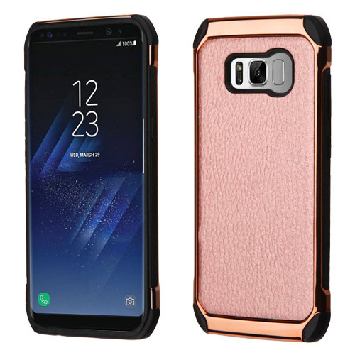 Asmyna Astronoot Protector Cover for Samsung Galaxy S8 - Rose Gold Lychee Grain(Rose Gold Plating) / Black