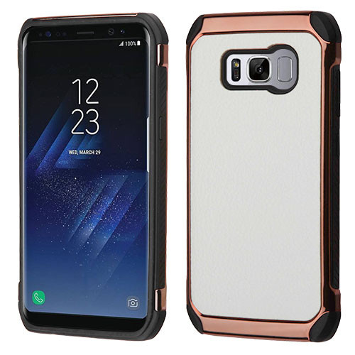 Asmyna Astronoot Protector Cover for Samsung Galaxy S8 - White Lychee Grain(Rose Gold Plating) / Black