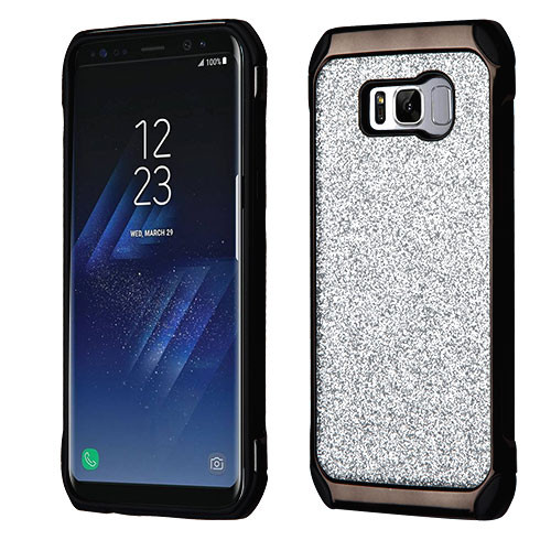 Asmyna Astronoot Protector Cover for Samsung Galaxy S8 - Silver Glitter(Black Plating) / Black