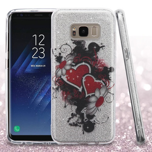 Asmyna Full Glitter Hybrid Protector Cover for Samsung Galaxy S8 Plus - Hearts & Flowers