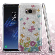 Asmyna Full Glitter Hybrid Protector Cover for Samsung Galaxy S8 Plus - Colorful Butterflies