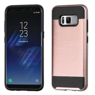 Asmyna Brushed Hybrid Protector Cover for Samsung Galaxy S8 Plus - Rose Gold / Black