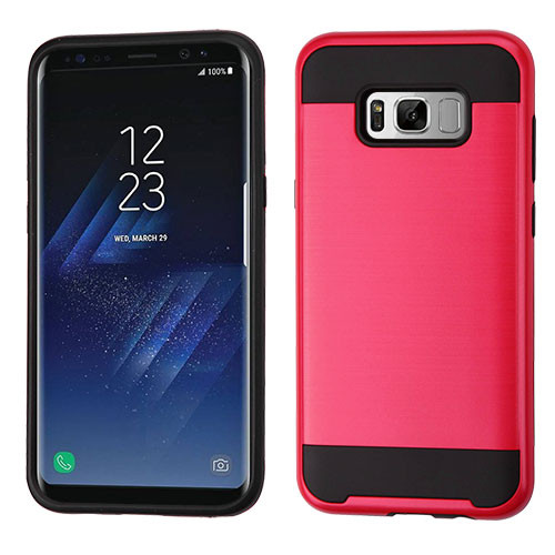 Asmyna Brushed Hybrid Protector Cover for Samsung Galaxy S8 Plus - Red / Black