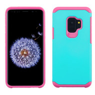 Asmyna Astronoot Protector Cover for Samsung Galaxy S9 - Teal Green / Hot Pink